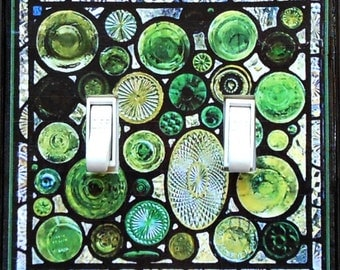 Stained Glass design switchplates & MATCHING SCREWS- Stained glass look double rockers Stained glass switch cover Tiffany stained glass art