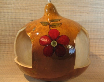 Gourd Bird Feeder with Red Flowers and Glass Beads