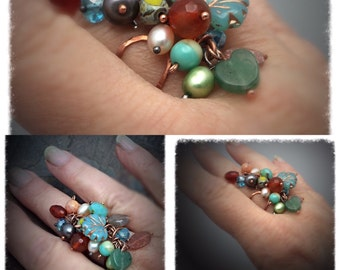 Waterfall Gemstone Adjustable Copper, wire wrap ring