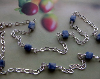 Sodalite Sterling Silver Chain Necklace, Wire Wrapped Bead Necklace, Blue Layering Necklace, Simple Everyday Necklace