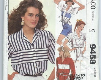 McCall's 9458 Misses' Shirt and Permanent Iron On Transfers - Size Small - Uncut Vintage Pattern