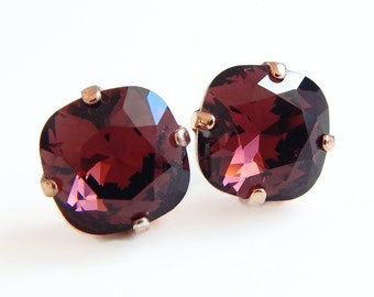 Marsala crystal earrings - square stone earrings - burgundy - made with swarovski® crystals
