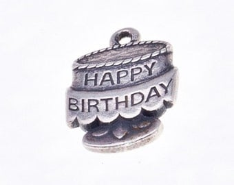 James Avery Sterling Charm - Birthday Cake on Pedestal