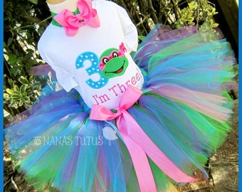 3yrs, Ready to Ship, Ninja Turtle with Number 3, Party Outfit, Theme Party, Tutu Set, Birthday Outfit, 3rd Birthday