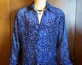 FOR GLENN Purple Velvet Prince Shirt, Royal Blue, Vintage 70s, Men's, Unisex, L  XL,  Long Sleeves, Curliques, Hippie, Hipster,