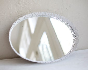 """9x12.5"""" Vintage white oval tulip filigree mirror. Blank or hand painted menu, dessert, cocktails, instagram, gifts/cards"""