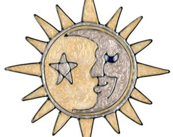 Silver & Gold Sun And Moon Faux Stained Glass Window Cling