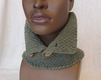 Hand Knit Chunky Neck Warmer / Collar with Wooden Buttons  for Men