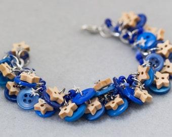 Blue Button Charm Bracelet / Silver Stars Celestial Dark Blue Jewelry / Simple Fun Piece by randomcreative on Etsy