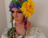 Beanie Ear flap hat  Hand Spun Hand Knit  Art Yarn rainbows