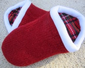 Red Slippers with White Trim and  Plaid lining  - Extra Large