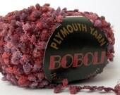 plymouth yarns boboli . wine . 71yd . mini pom pom boucle fringe novelty art yarn . garnet red berry plum . discount destash yarn