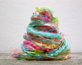 luau fringe effects™  21yds of specialty fibers tropical colors art yarn bundle . aqua turquoise hot pink spring green yellow