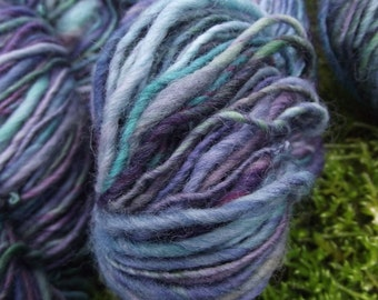 Handspun yarn, handpainted thick and thin Organic Polwarth wool yarn, worsted -Jewels