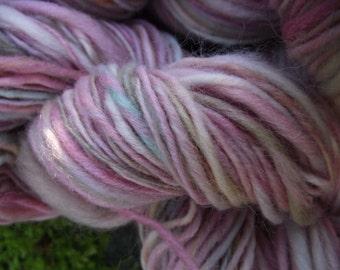Handspun yarn, handpainted wool yarn, super soft Organic Polwarth, worsted yarn,-BUNNY