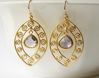 Amethyst Dangle Earrings Amethyst Earrings Wedding Jewelry