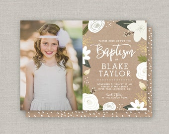 lds baptism invitation abbigal by announcingyou on etsy, Baptism invites