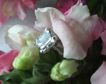 Alternative Engagement Ring, Prasiolite Ring in 18k White Gold,Right Hand Ring/E Ring, Ready to Ship