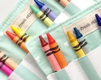 Crayon Rolls . Set of 20 . 8 Crayons Included . Birthday Party Favor . Choose Your Fabrics . Wedding Favors for Kids
