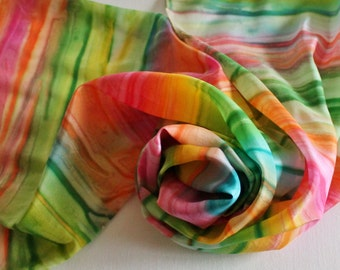 Hand Painted Silk Scarf - Handpainted Scarves Rainbow Turquoise Blue Kelly Green Lime Yellow Orange Hot Pink Bright Pride