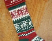Personalized Christmas Stocking, moose, with red cuff, reserved for Jessica