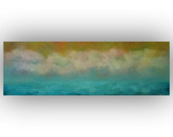 Turquoise and Gold Abstract Seascape- 12 x 36 Ocean Sky and Clouds Oil Painting- Original Palette Knife Art on Canvas