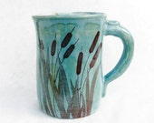 Cat Tail Mug - Teal Coffee Mug - Sepia Decal Cattails with Frogs