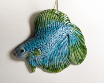 Turquoise Blue and Green Beta Fish Home Decor Ceramic Ornament Sculpture Animal