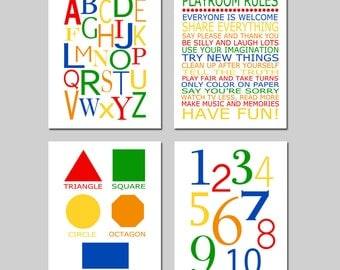 Playroom Wall Art Set of 4 Playroom Decor Alphabet Numbers Playroom Rules Kids Wall Art - Set of 4 Prints for Playroom - CHOOSE YOUR COLORS