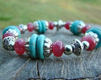 Bead Bracelet, Turquoise Jewelry, Silver Bracelet, Ruby, Quartz Bracelet, Beaded Bracelet, Gemstone Bracelet, Turquoise Bracelet, Stretchy
