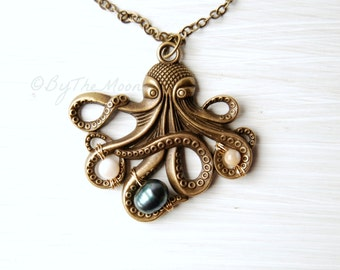Octopus Necklace, Octopus Pendant, Gift for Her, Pearls, Mother's Day Gift, June Birthstone, Boho Necklace, Graduation Gift, Boho Wedding