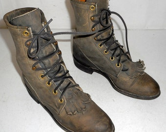 Blue Gray lace up cowboy boots Justin brand womens size 5.5 B western steampunk