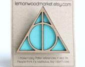 Deathly Hallows hair clip - aqua wood Harry Potter inspired hair clip
