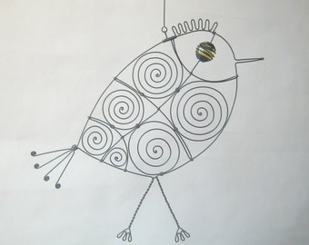 Wire Bird Sculpture In Yellow With Legs
