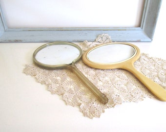 Vintage Celluloid Mirror Lucite Hand Mirror Dresser Accessory French Ivory