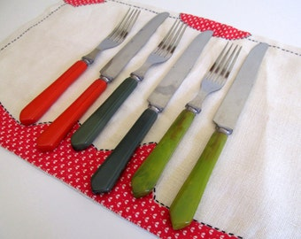 Vintage Mid Century Forks and Knifes Flatware, Set of Three, Plastic Red and Green Handles,