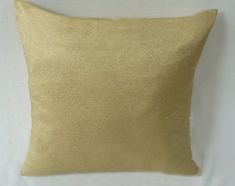 gold throw pillow.  Gold mettalc luxury pillow. Festive decor. Dull gold cushion cover. Custom made. 18inch