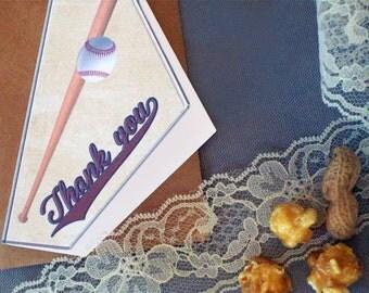 Baseball Thank You Card - Baseball Wedding - Rustic Wedding Thank You Cards - Rustic Wedding - Vintage Inspired Baseball Thank You Cards