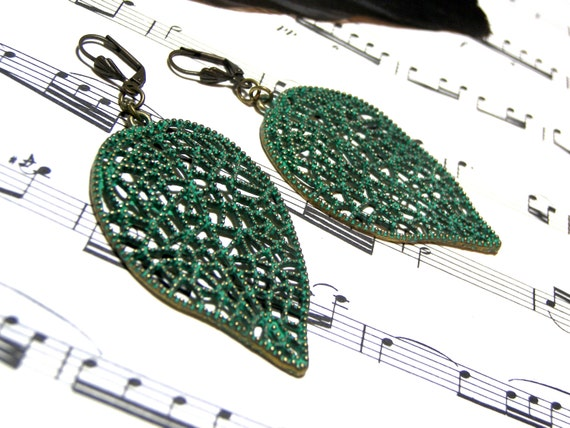 Patina Leaf Earrings Green Earrings Top Selling Jewelry Popular Jewelry