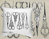 Digital Download Sewing Room Collection Vintage Chic Scissors Black & White Image For Papercrafts, Transfer, Pillows, Totes, Etc va018