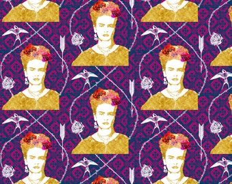 Frida Fabric - Frida 5 on purple By Nouveau Bohemian - Frida Kahlo Cotton Fabric By The Yard With Spoonflower