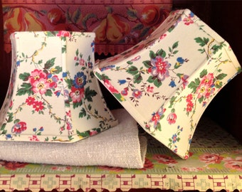 Floral Lampshade Vintage Fabric 5x8x6 Clip Top - Pretty, Handmade, Cottage Style - Lampshade Lady Favorite!