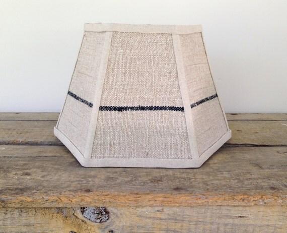 navy stripe lamp shade lampshade vintage grain sack hex 7. Black Bedroom Furniture Sets. Home Design Ideas
