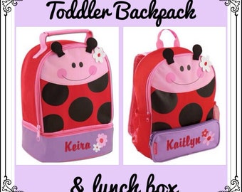 Toddler Backpack and Lunchbox / personalized backpack / personalized lunchbox / STEPHEN JOSEPH backpack /LADYBUG