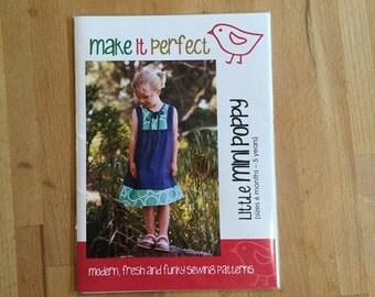 Make It Perfect Girls Dress Sewing Pattern - Little Mini Poppy (size 6mo - 5 years)