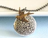 Small Mixed Metal Bird Locket Necklace, Bird Jewelry, Nature Jewelry, Nature Necklace, Keepsake Jewelry, Silver Locket, Girl Locket