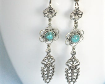 Turquoise Silver Earrings - Silver Filigree Earrings, Long Earrings  Flower Earrings, Floral Jewelry, Silver Earrings, Lightweight Earrings