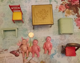SALE Vintage Lot of Renwal Dollhouse items Furniture and Babies 1950's