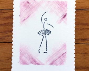 Hand painted and stamped flat Ballerina note card