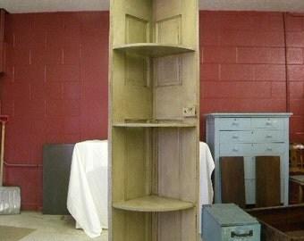 Custom Corner Cabinet from Reclaimed Vintage Door Cottage County Chic Shabby Vintage Door